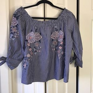 American Eagle Off the Shoulder Embroidered Top